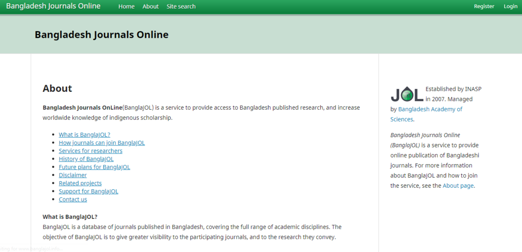 Online Journals Published in Bangladesh