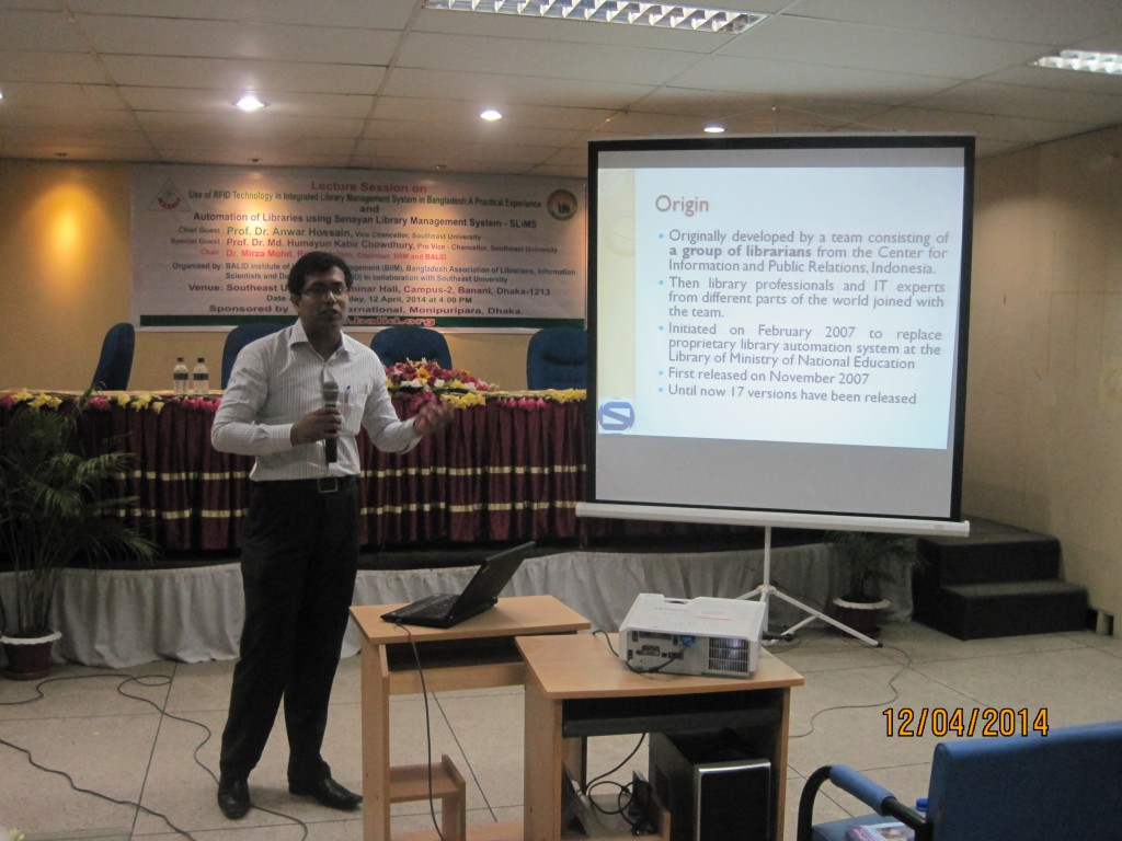 Lecture on 'RFID' and 'SLiMS' held at Southeast University - 12 April 2014